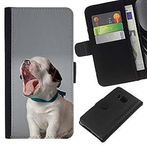 Puppy Yawning Beagle Baby Canine Dog - la tarjeta de Crédito Slots PU Funda de cuero Monedero caso cubierta de piel HTC One M7