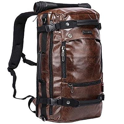 WITZMAN Men Travel Backpack Canvas Rucksack Vintage Duffel Bag A2021 (21 inch PU Coffee)