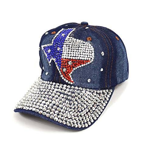 Ladies Bling Texas State Rhinestones Faded Denim Adjustable Baseball Hat (Texas Bling)