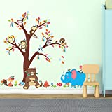 Amaonm Creative Cartoon Animal Wall Decals Monkey Owls On the Tree Wall Sticker Murals Removable DIY Peel & Stick art Decor for Kids Babys Bedroom Living Room Boy and Girls Nursery Rooms Walls