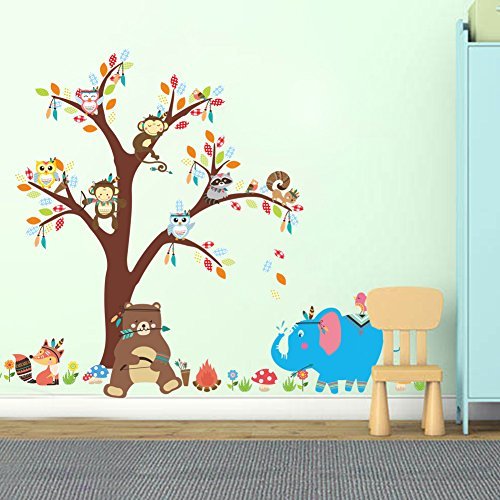 Fymural Cartoon Kid Bedroom Decor - Forest Animal Monkey Owls Hedgehog Tree Wall Sticker Baby Swing Nursery Murals Decals DIY Vinyl Removable Wall Art for Kids Girls Room (Y150)