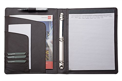 - iCarryAlls Leather Organizer Padfolio with 3-Ring Binder, Fits Letter-Size / A4 Notepad