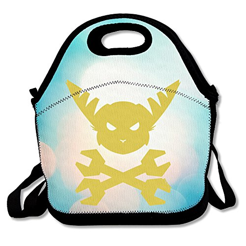 Bakeiy Ratchet & Clank Head Lunch Tote Bag Lunch Box Neoprene Tote For Kids And Adults For Travel And Picnic (Ratchet And Clank Costume)