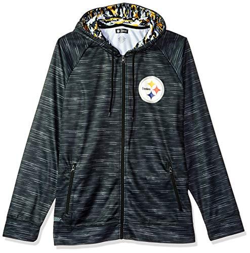 Steelers Male Full Zip Camo Space Dye Hoodie, X-Large, Black ()
