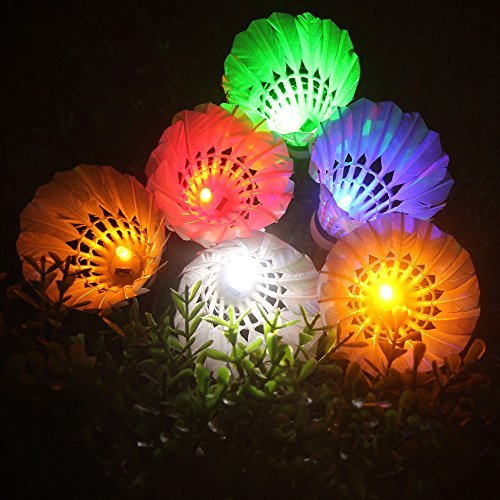 LED Shuttlecock Badminton, Inngree [6 Pack] 6 Color Shuttlecock Dark Night Goose Feather Glow Birdies Lighting for Outdoor Indoor Sport Activities Toys gift game