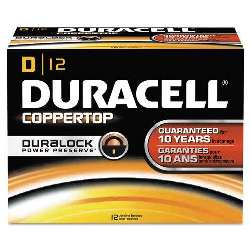 Duracell CopperTop Alkaline Batteries with Duralock Power Preserve Technology, D, 12/Pack