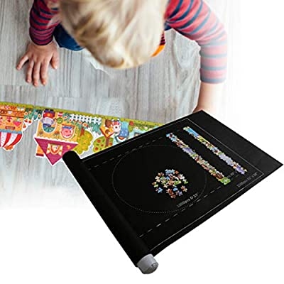 Shotbow Puzzle Mat Roll Up for Jigsaw Puzzles Felt Mat for Puzzle Storage Puzzle Saver Up to 1500 Pieces with Felt Puzzle Mat Inflatable Tube Bonus Mini Pump 3 Fixed Bar Drawstring Storage Bag (Black): Home Improvement