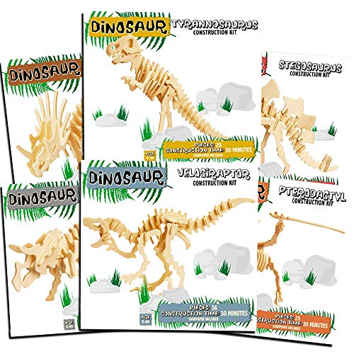 Professor Puzzle Dinosaur Building Kits for Kids Super Set -- 6 Dinosaur Wooden 3D Skeleton Puzzles (Wood Craft Model Kits for Kids) ()