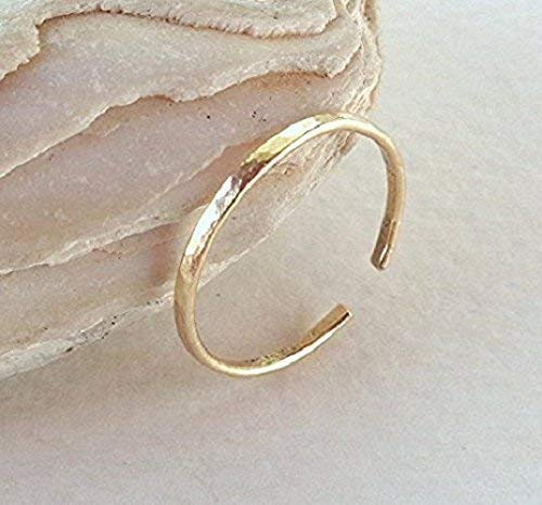 14K Solid Gold Toe-Midi-Knuckle Hammered Ring Stackable Minimal Open Band Adjustable size 51w3ukcDLmL