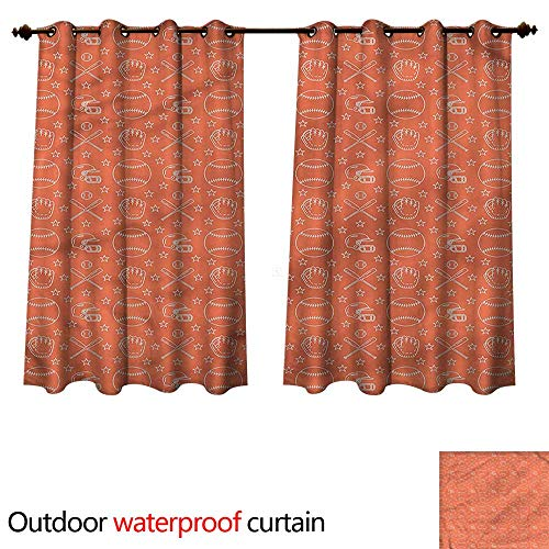 cobeDecor Baseball Outdoor Balcony Privacy Curtain Softball Player Equipment W63 x L63(160cm x 160cm)