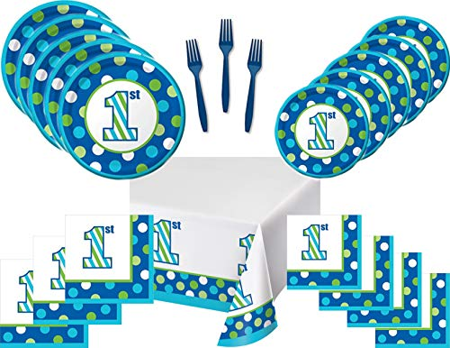 First Birthday Blue and Green Party Supply Bundle for 16 Guests - Sweet Stripes - Includes Plates, Napkins, Forks and Tablecover