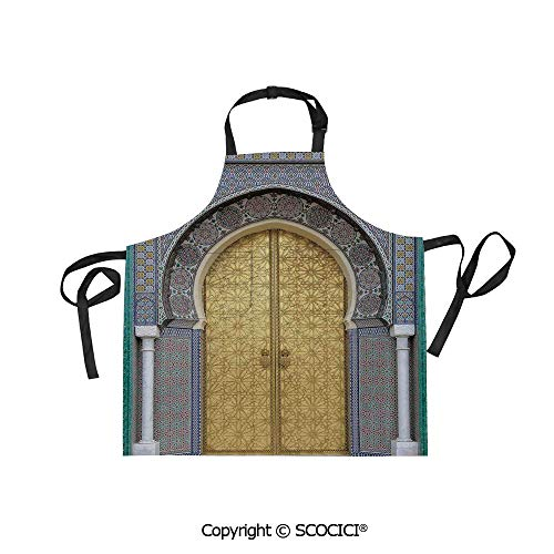 SCOCICI Unisex Waterproof and Dirty Resistant Printing Kitchen Apron,Antique Doors Morocco Gold Doorknob Ornamental Carved Intricate Artistic Decorative,for Cooking Baking Gardening
