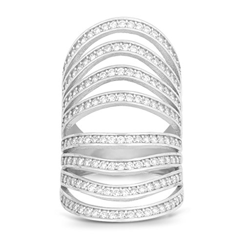 (Sterling Silver Channel Set CZ Multi-Row Long Ring (Size 9))