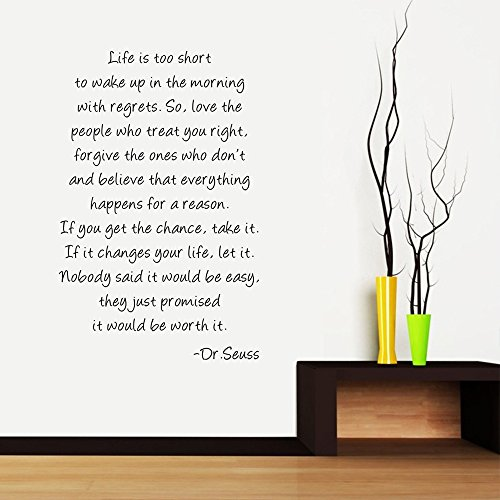 "ufengke® ""Life is short ""English Poem Quotes and Sayings Wall Decals, Living Room Bedroom Removable Wall Stickers Murals"