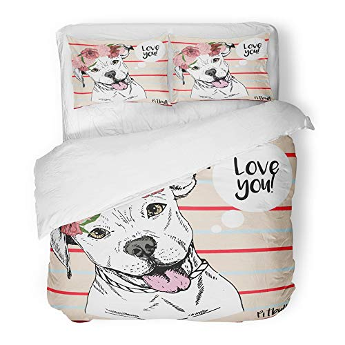(Emvency 3 Piece Duvet Cover Set Brushed Microfiber Fabric Close Up Portrait of Pitbull Girl Wearing The Flower Wreath Domestic Pet Dog Breathable Bedding Set with 2 Pillow Covers Full/Queen Size)