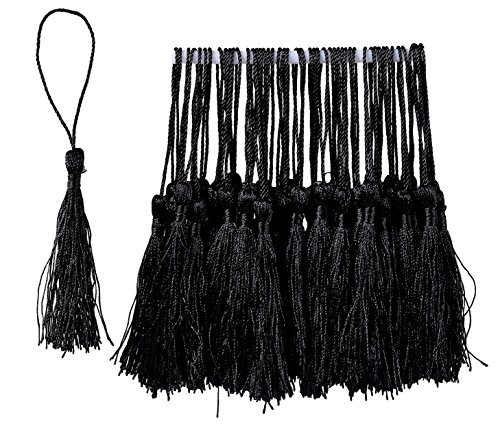 Bookmark Tassels - 150-Pack Silky Floss Tassel Pendant with 2.3-inch Cord Loop - Ideal for Handmade Craft Accessory, DIY Jewelry Making, Home Decoration, Souvenir - Black, 0.1 x 5.4 x 0.1 inches
