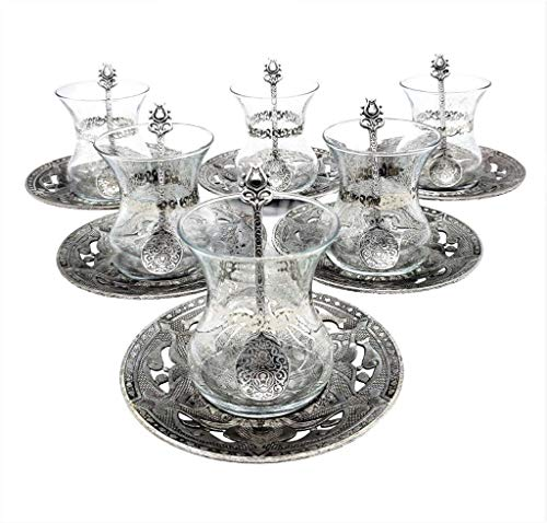 (Traditional Turkish Style Tea Set 6 Embellished Glass Cups + Zinc Alloy Saucers and Teaspoons (Antique Silver))