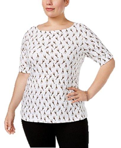 Karen Scott Plus Size Giraffe-Print Boat-Neck Top (Bright White, 3X)
