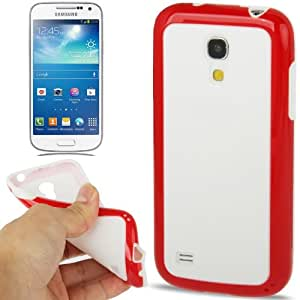 2-color Series Solid Square Pattern TPU Case for Samsung Galaxy S IV mini / i9190 (Red + White)