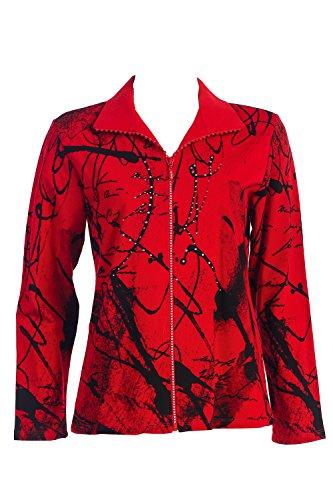 """Jess & Jane Rhinestone Zipper Jacket - """"Scrolls"""" in Red -..."""