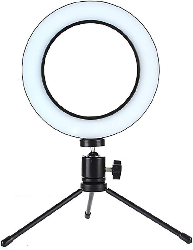 Ring Light Led Continuous Lighting Kit Stepless Dimming Multiple Brightness Adjustment with Tripod Cell Phone Spring Clip Holder