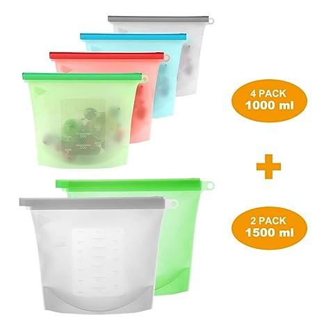 Bolsas de almacenamiento de alimentos, bolsas de alimentos reutilizables VLikeze, bolsas de silicona herméticas con cierre hermético para guardar ...