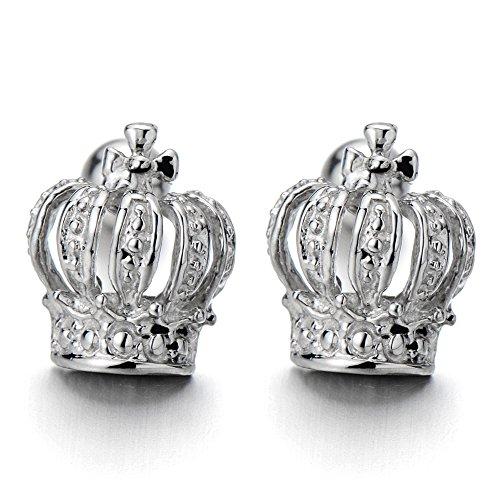 Womens Crown Earrings Stainless Steel