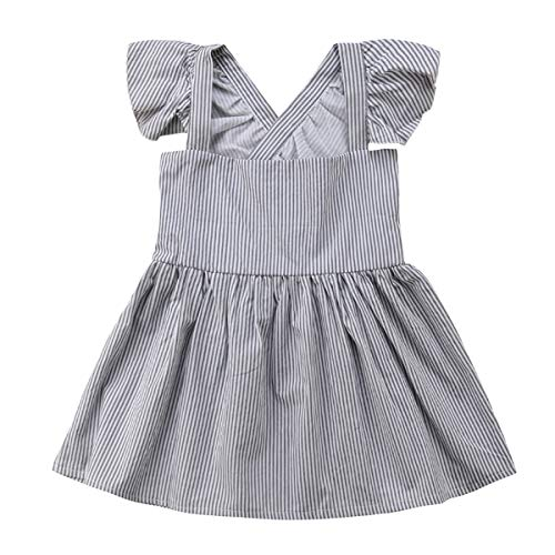 Mubineo Baby Toddler Girl Pinstripe Cross Straps Summer Sleeveless Overall Dress with Bowknot (Grey, 12-18 Months)