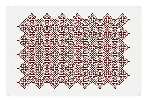Ambesonne Brown and White Pet Mat for Food and Water, Javanese Ethnic Batik Ornament Old Fashioned Cultural Vintage Tile, Rectangle Non-Slip Rubber Mat for Dogs and Cats, Brown and White ()