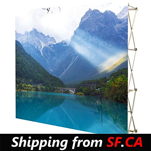 (8x12,Velrco Tension Fabric Backdrop Booth Frame Straight Pop Up Display Stand 3x5 (Shipping from SF.CA))