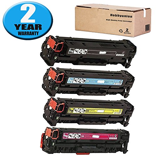 128A CE320A CE321A CE322A CE323A Toner Cartridge by Hobbyunion Compatible for Pro Color LaserJet CP1525N CP1525NW CP1521N CP1522N CP1523N CP1526NW CP1527NW (4 Pack, Black, Cyan, Yellow, Magenta) ()