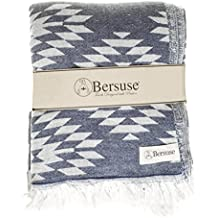 Bersuse 100% Cotton - Teotihuacan XL Blanket Turkish Towel - Bath Beach Fouta Peshtemal - OEKO-TEX Certified - Bed, Couch Throw, Table Cover, Picnic Mat - Aztec Dual-layer - 78X94 Inches, Dark Blue