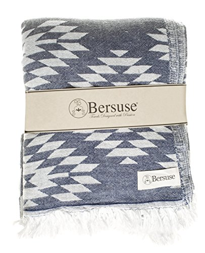 Bersuse 100% Cotton Teotihuacan XL Dual-Layer Blanket Turkish Towel, 78x94 Inches, Dark Blue - OEKO-TEX Certified: A worldwide consistent, independent testing and certification system for raw, semi-finished, and finished textile products at all processing levels LARGE AND STYLISH: Offers soft, relaxing comfortability for indoor/outdoor, home, beach, camping, picnic, or travel. Add gorgeous value and elegance to a couch, chair or bed by choosing a color that matches your bedroom or living room décor. ABSORBENT & GENTLE ON SKIN: Our linen flat woven towels dry you off quickly.  They are ultra soft and great for infants, baby care, toddlers and adults with sensitive skin. - blankets-throws, bedroom-sheets-comforters, bedroom - 51w3xO5JBmL -