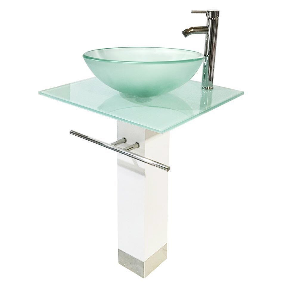 QIERAO Glass Vessel Sink Bathroom Vanity (White + Frosted Sink) by QIERAO