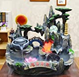GL&G Rockery Water Creative Fish tank Bonsai Indoor Tabletop Fountains, living room office Resin Crafts Tabletop Scenes Ornaments Humidifier Parts High-end Business Lucky gift,422338CM