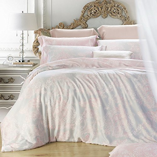 TheFit Paisley Bedding for Adult U174 European Soft Pink Duvet Cover Set 100% Tencel, Queen King Set, 4 Pieces (Queen) by TheFit