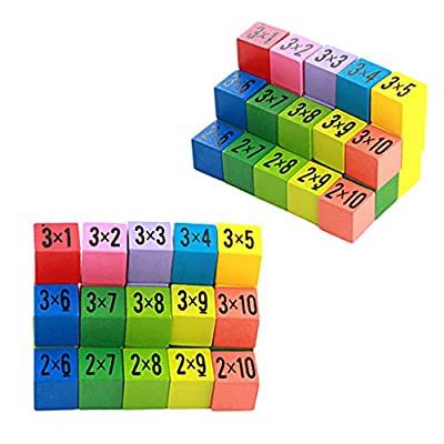 Seaskyer Wooden Multiplication Tables Board,Equation Thinking Math Game,100 PCS Classic Perschool Building Blocks,Learning Educational Puzzle Toys for Kids Toddlers Children Boys Girls,(Multicolored): Industrial & Scientific
