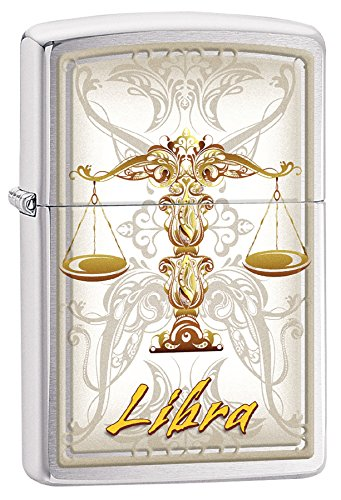 Zippo Personalized Customize Message Engraving on Backside Horoscope Zodiac Sign Lighter (Libra)