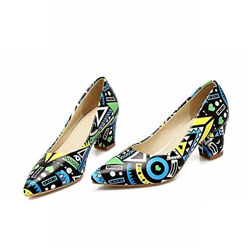 MissSaSa Damen elegant und modern Chunky heel Pointed Toe Low-cut Pumps mit Blockabsatz Blau