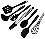 SimplexSilicone Classic 7-Piece Premium Non-Stick Silicone Kitchen Utensil Set, Heat Resistant Cooking Utensils with Hygienic Solid Coating - Includes: Spoon, Spatula, Pasta Fork, Turner, Ladle, Tongs, and Whisk, Set of 7 (Classic Black)