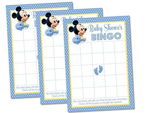 Mickey Mouse Inspired Baby Shower Bingo Game Cards - Set of 20 Cards, Mickey Mouse Baby Shower Supplies, Mickey Mouse Baby Shower Decorations, Mickey Mouse Baby Shower Bingo Game]()