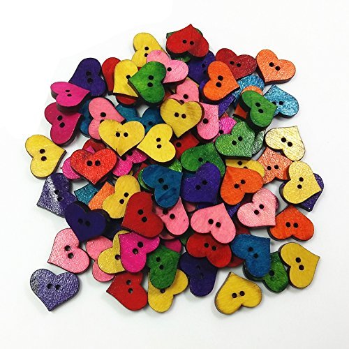 n Buttons for Sewing Crafts,50 Pcs assorted Mixed Color Heart Shape (Heart Sewing)