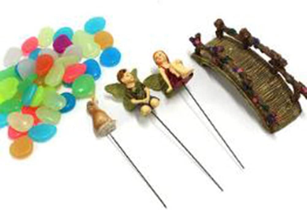 JiaUfmi Mini Garden Miniatures Set-Garden Outdoor Ornaments Fairy, Men, Dog, Stone, Brige Garden Statue-Waterproof Resin Dwelling Ornament