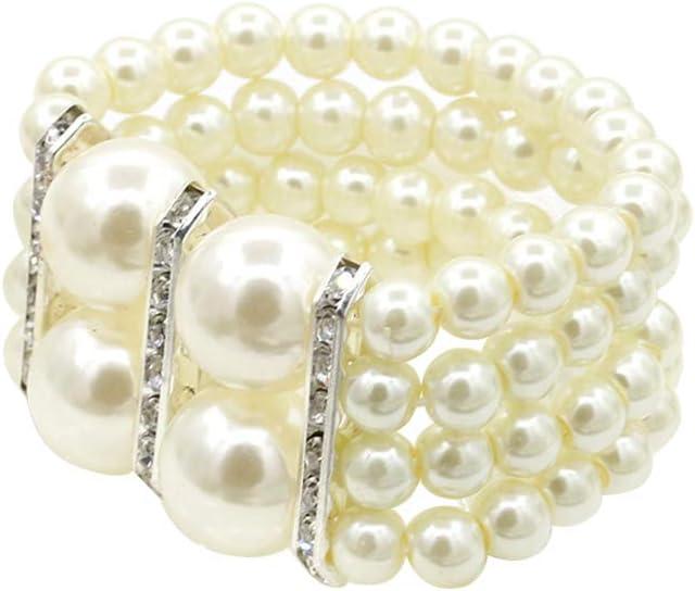 FENICAL Moda de 4 hileras de Perlas de Bucle de Plata Brazalete Plateado Brillante Regalo de la joyería para Las Mujeres niñas