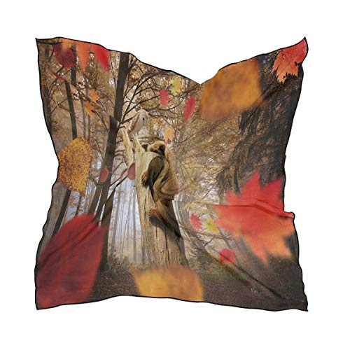 Silk Scarf Bear Tree Square Headscarf 23 x 23 inches for Women