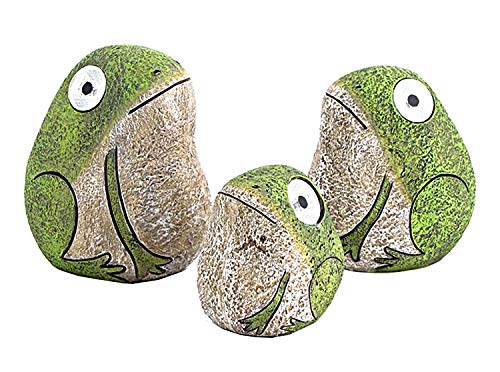 Solar Frogs with Light Up Eyes, Set of 3 Figures -