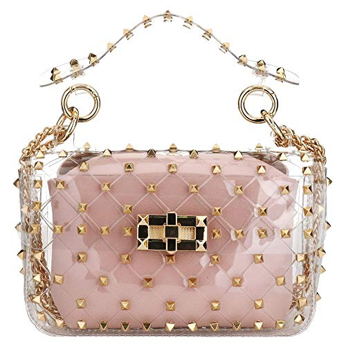 (EOURGE Women Handbags PVC Jelly Bag Handbag With Chain Studded Argyle Messenger Bag (Pink))
