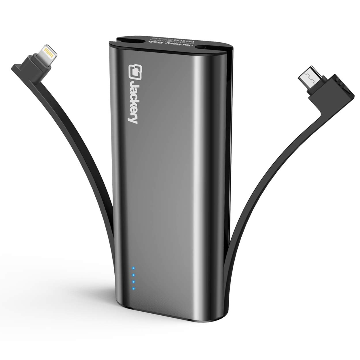Portable Charger Jackery Bolt 6000 mAh - Power Bank with Built in Lightning Cable [Apple MFi Certified] iPhone Battery Charger External Battery Pack, Twice as Fast as Original iPhone Charger by Jackery