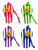 Flip Flop Luggage Tags with Striped Design - Set of 4