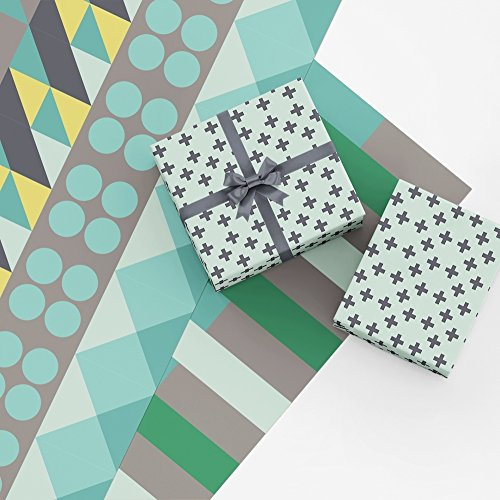 Green Geometric Gift Wrap Collection, 9 Rolled Sheets of Wrapping Paper with Geometric Patterns in Shades of Green and Gray, Made in America by REVEL & Co ()